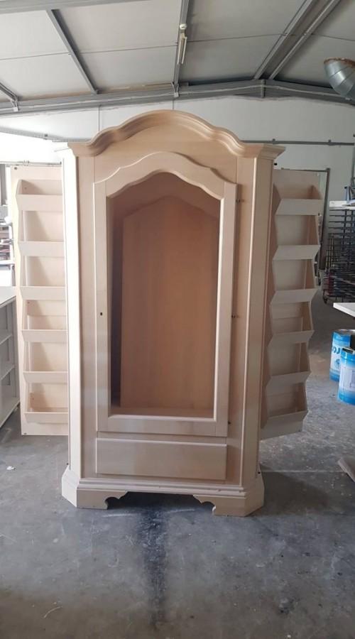 Ντουλάπα-Παπουτσοθήκη Άβαφη Ανοιγόμενη Ξύλινη με 1 πόρτα και 1 συρτάρι Portascarpe 111x61x198 εκ.