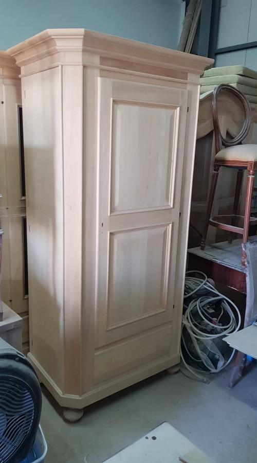Ντουλάπα-Παπουτσοθήκη Άβαφη Ανοιγόμενη Ξύλινη με 1 πόρτα και 1 συρτάρι Torne 104x64x203 εκ.