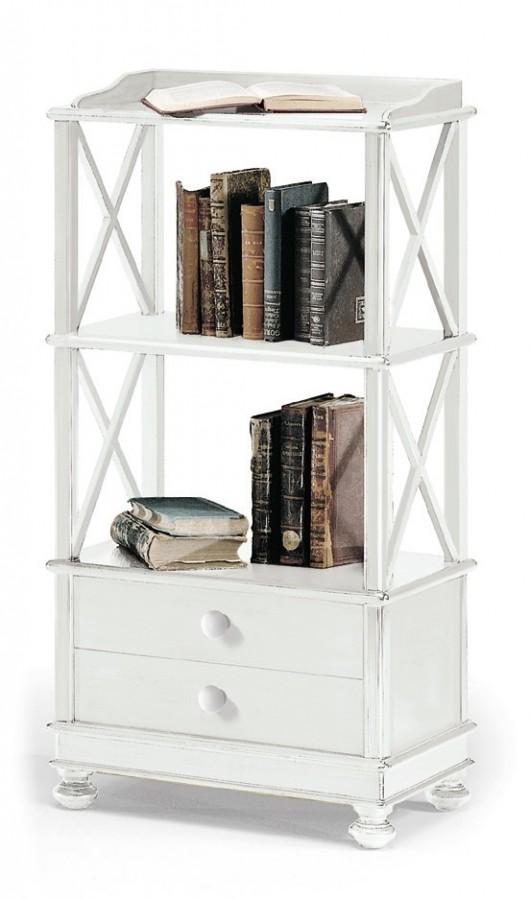 Βιβλιοθήκη  Ξύλινη Μικρή 2 συρτάρια   Country Style 54x34x105 εκ.