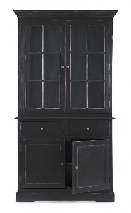 Κρυσταλιέρα Ξύλινη με 4 πόρτες και 2 συρτάρια JEFFERSON BLACK 111,4x42,5x203 εκ.