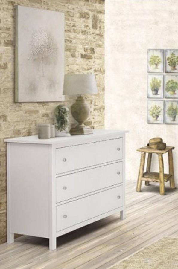 Συρταριέρα Country Style με 3 συρτάρια από ξύλο σε λευκό ματ  χρωματισμό 114x51x95 εκ.