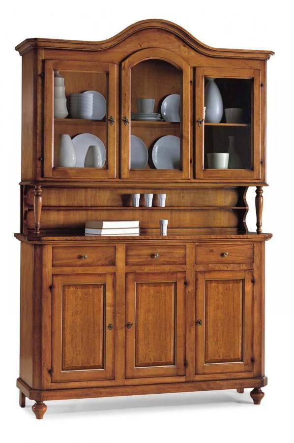 Κρυσταλιέρα Ξύλινη με 3 πόρτες και καμάρα Classical Collection 150x43x228 εκ.