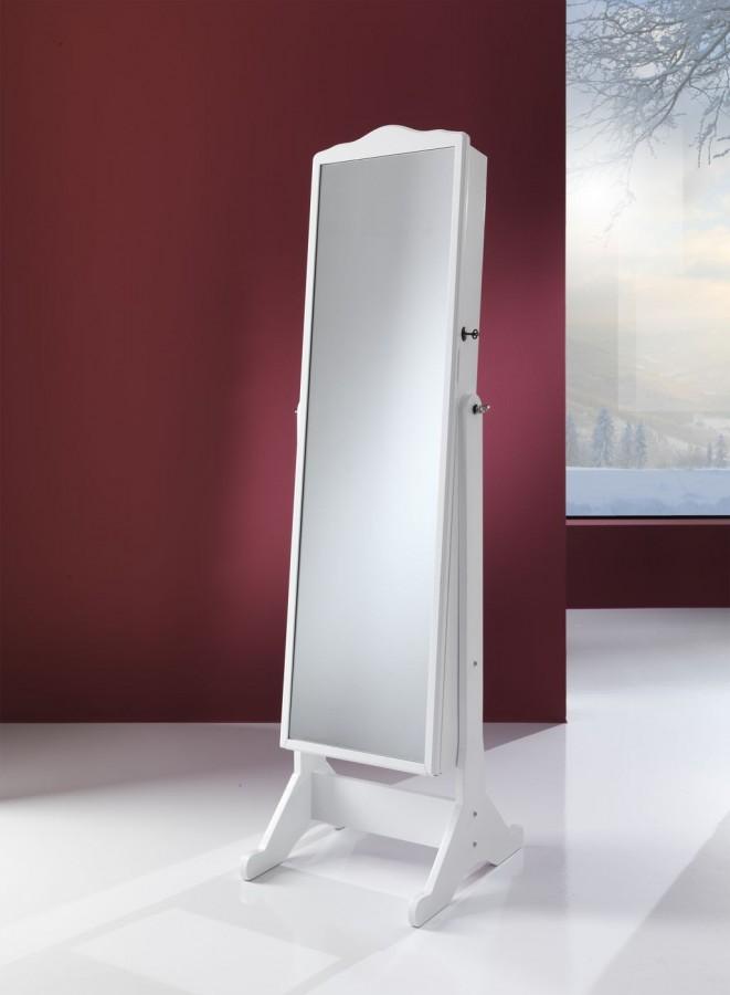 Καθρέπτης - κοσμηματοθήκη Λευκή λάκα ματ 32x119,5  εκ.