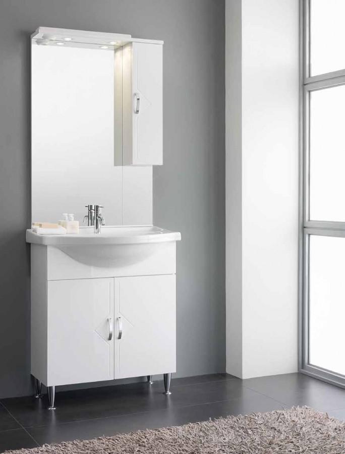 Έπιπλο Μπάνιου CARLA 75 σε λευκό γυαλιστερό χρωματισμό