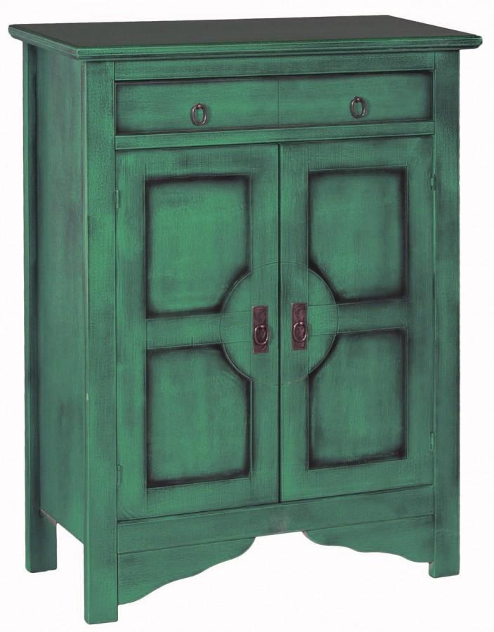 Μπουφές VERDE σε μασίφ ξύλο με Πετρόλ Χρωματισμό και Μαύρη Πατίνα με 2 πόρτες και 1 συρτάρι 85x37x115 εκ.