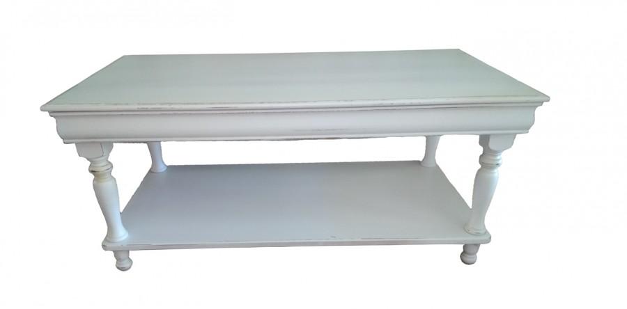 Τραπεζάκι σαλονιού Ξύλινo σε λευκό αντικέ απόχρωση με 1 κρυφό συρτάρι 110x55x48 εκ.