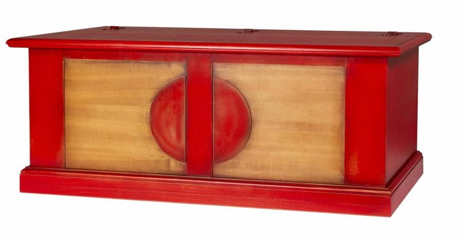 Μπαούλο CILIEGIO σε μασίφ ξύλο με Κόκκινο-Κερασιά Χρωματισμό και Μαύρη Πατίνα 120x48x48 εκ.
