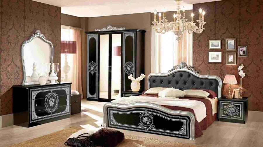 Κλασικό Υπνοδωμάτιο ALICE BLACK SILVER με καπιτονέ