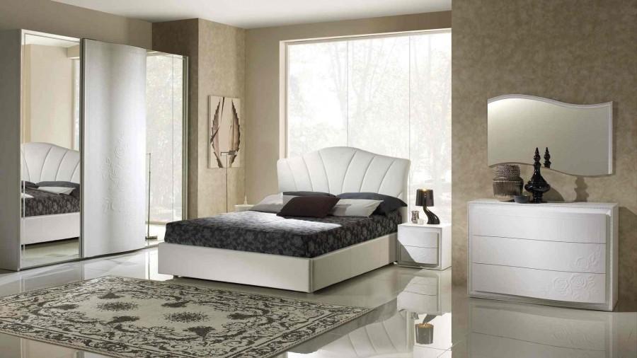 Μοντέρνο Σετ Υπνοδωμάτιο CHANEL σε λευκή ματ λάκα