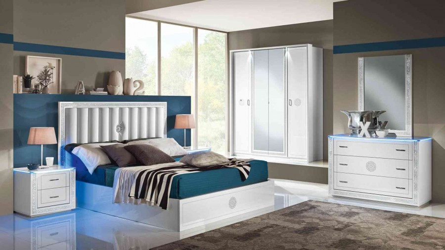 Μοντέρνο Σετ Υπνοδωμάτιο CRISTAL σε λευκό ή μαύρο χρωματισμό