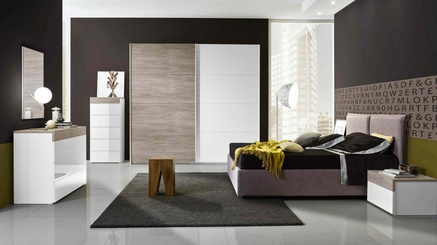 Μοντέρνο Σετ Υπνοδωμάτιο GESSY σε λευκό και rovere χρωματισμό