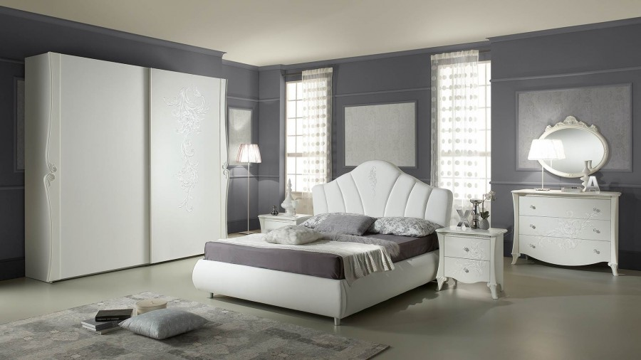 Μοντέρνο Σετ Υπνοδωμάτιο DORIS ντυμένο με ύφασμα και οικολογικό δέρμα.