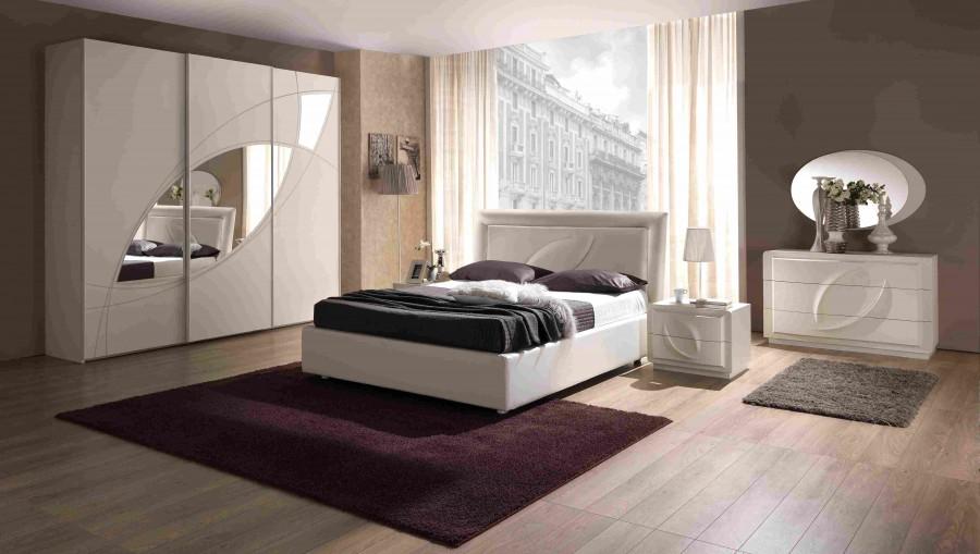 Μοντέρνο Σετ Υπνοδωμάτιο TREVI ντυμένο με ύφασμα και οικολογικό δέρμα.