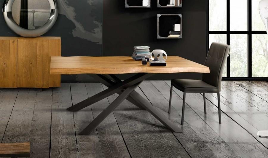 Τραπέζι Μασίφ Ξύλινο MODERN ROVERE NODATO σε 3 διαστάσεις