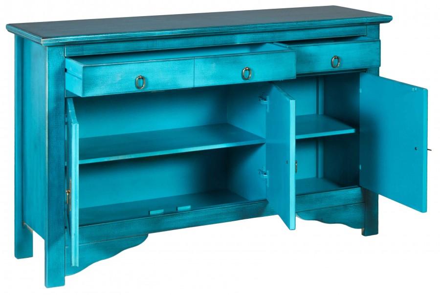 Μπουφές MELZO σε μασίφ ξύλο με Τιρκουάζ Χρωματισμό και Μαύρη Πατίνα με 3 πόρτες και 3 συρτάρια 130x37x84 εκ.