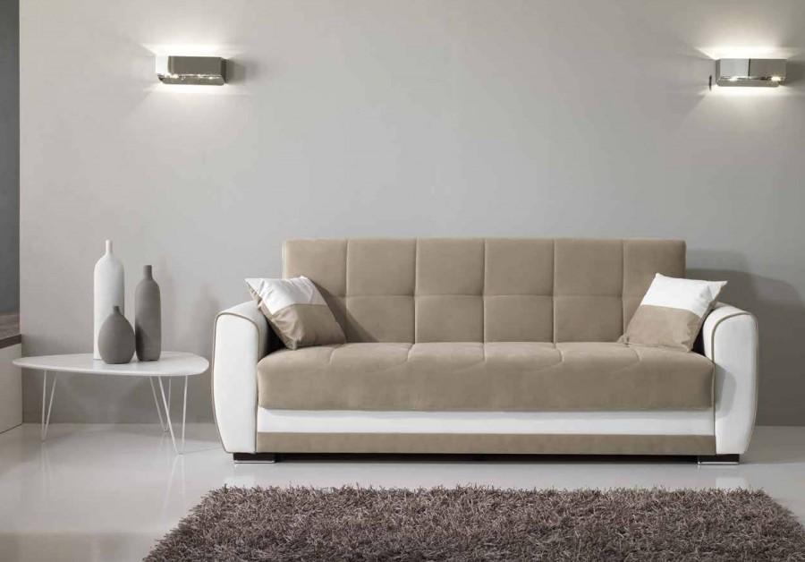 Καναπές κρεβάτι Τριθέσιος VERA με οικολογικό δέρμα και ύφασμα 223x80x89 εκ.