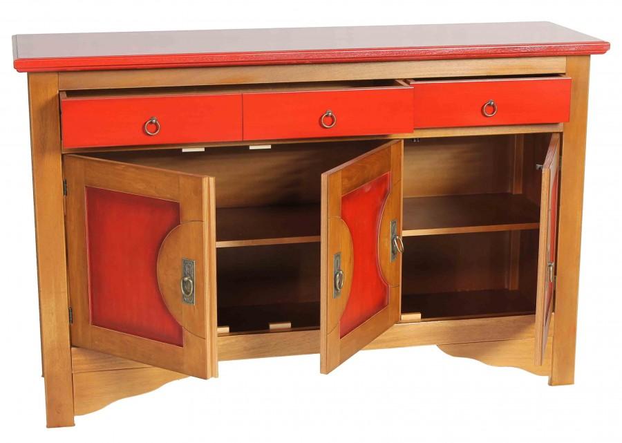 Μπουφές CILIEGIO σε μασίφ ξύλο  με Κερασιά και Κόκκινο Χρωματισμό με 3 πόρτες και 3 συρτάρια 130x37x84 εκ.