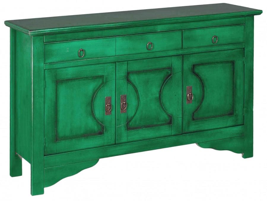 Μπουφές VERDE σε μασίφ ξύλο με Πετρόλ Χρωματισμό και Μαύρη Πατίνα με 3 πόρτες και 3 συρτάρια 130x37x84 εκ.