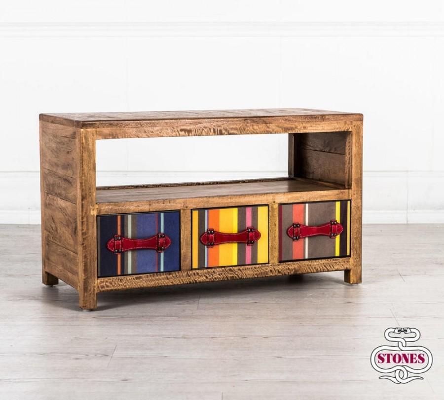 Έπιπλο τηλεόρασης COLOURS από μασίφ ξύλο με 3 συρτάρια 86x40x50 εκ.