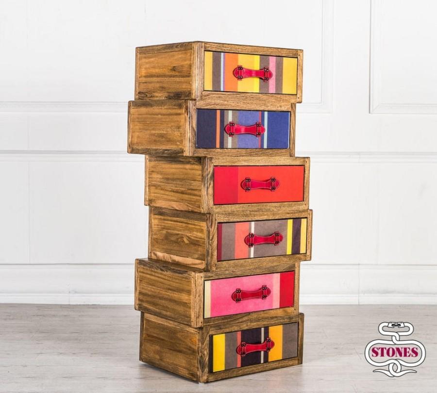 Συρταριέρα COLOURS από μασίφ ξύλο με 6 συρτάρια 60x40x120 εκ.