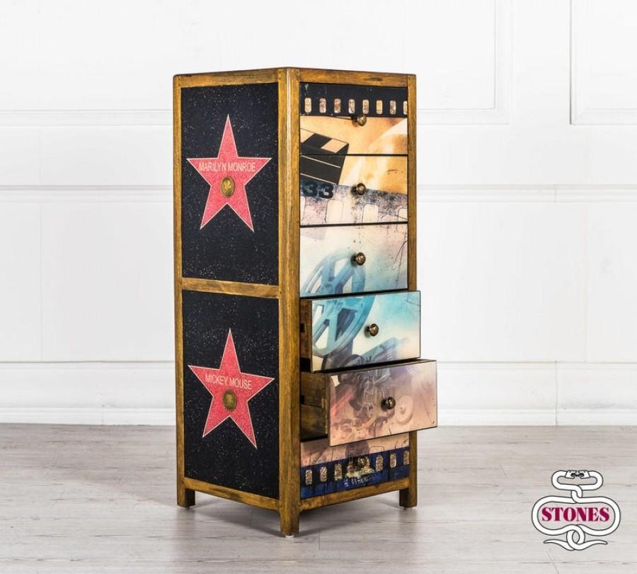 Συρταριέρα HOLLYWOOD από μασίφ ξύλο με 6 συρτάρια 45x42x110 εκ.