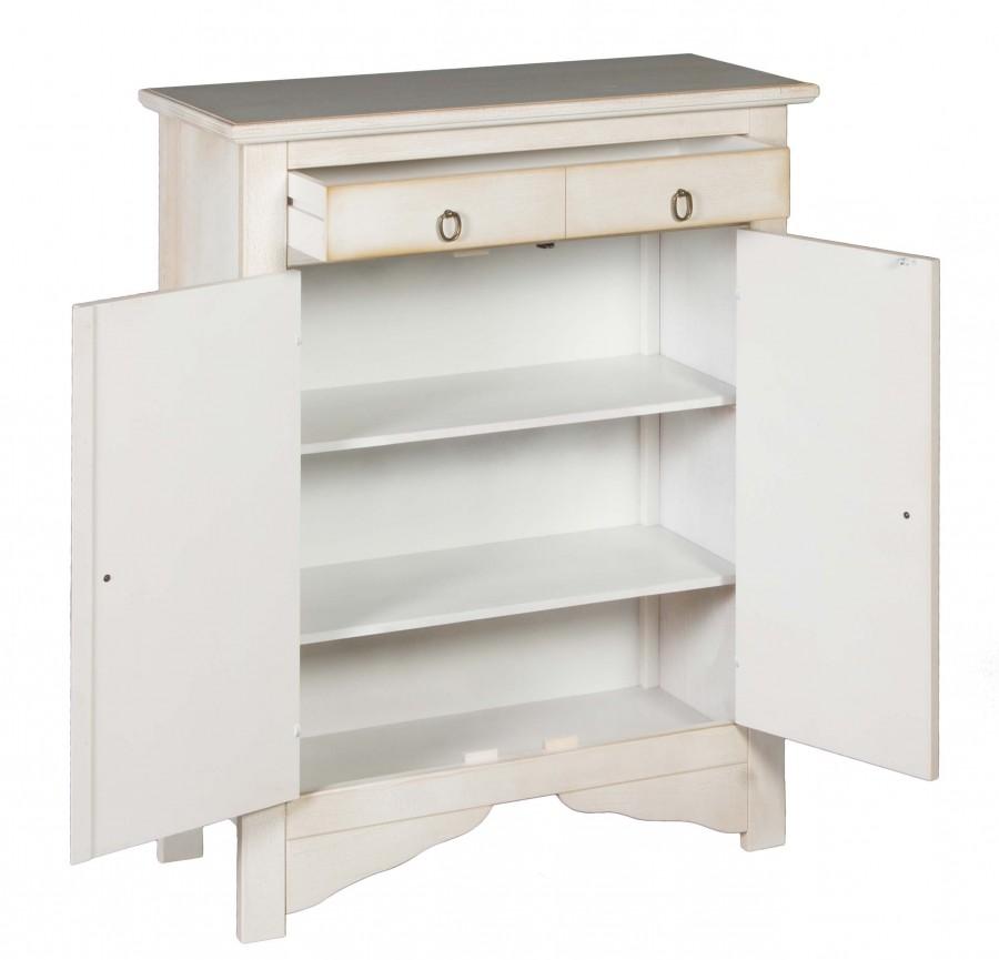 Μπουφές BIANCO σε μασίφ ξύλο με Λευκό Χρωματισμό και  Πατίνα Decape με 2 πόρτες και 1 συρτάρι 85x37x115 εκ.