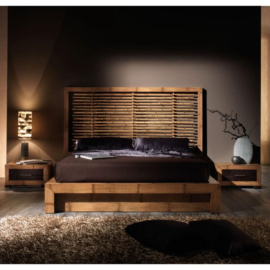 Κρεβάτι ESSENTIAL από ξύλο bamboo σε honey antique χρωματισμό