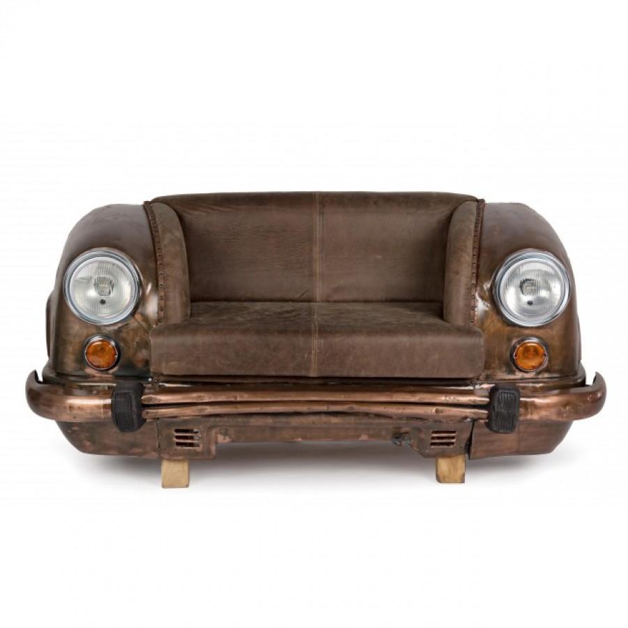 Καναπές Ambassador με φυσικό δέρμα 2 καθισμάτων σε καφέ χρωματισμό 159x65x75 εκ.