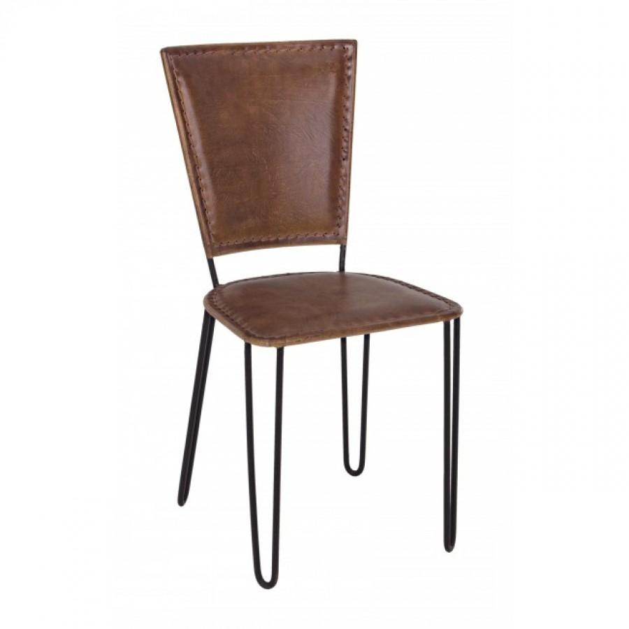 Καρέκλα από γνήσιο δέρμα και μεταλλική δομή ASHANTI 42x57x87 εκ.