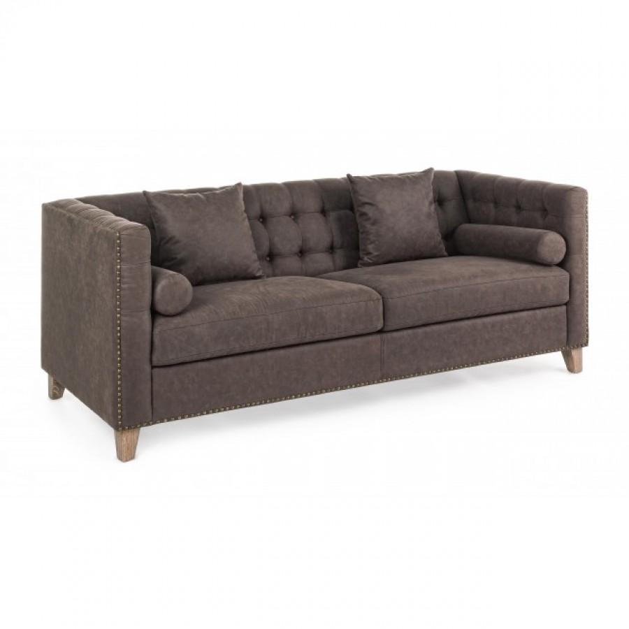 Καναπές LAMBERT BROWN σε κάλυμμα από πολυεστέρα 3 καθισμάτων 198x83x77 εκ.