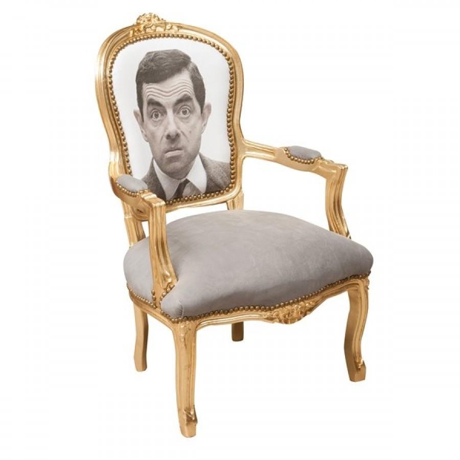 Πολυθρόνα Louis XIV French style Mr Bean σε μασίφ ξύλο 65x65x98 εκ.