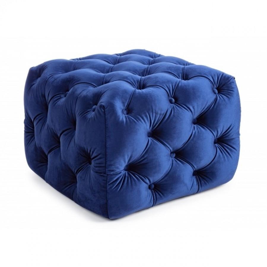 Πούφ βελούδο EVAN BURGUNDY BLUE 62x62x46 εκ.