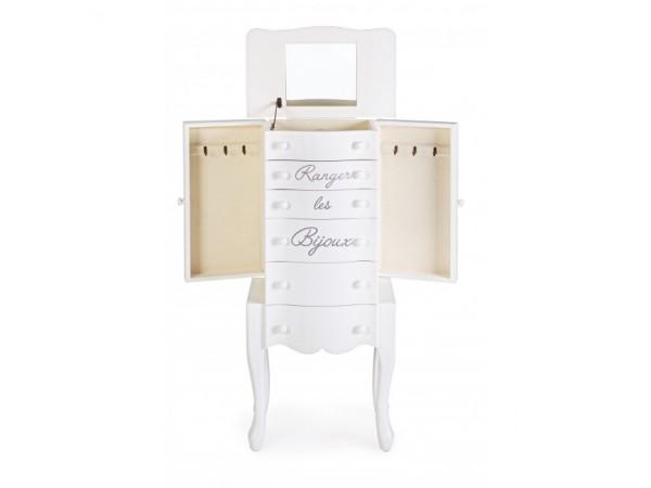 Συρταριέρα κρεβατοκάμαρας BIJOUX με καθρέφτη σε λευκό ματ χρωματισμό 43,5x27,5x92 εκ.