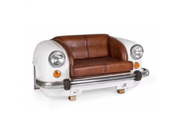 Καναπές Ambassador με φυσικό δέρμα 2 καθισμάτων σε λευκό χρωματισμό 159x65x75 εκ.