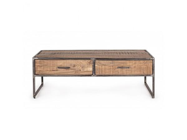Τραπεζάκι σαλονιού ELMER από ξύλο acacia με 2 συρτάρια 120x60x40 εκ.