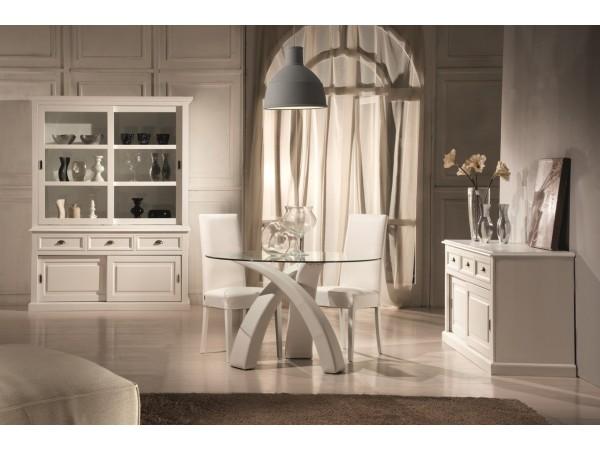 Τραπέζι με τζάμι και πόδια ντυμένα από δερμάτινη σε λευκό χρωματισμό 120x120x76 εκ.