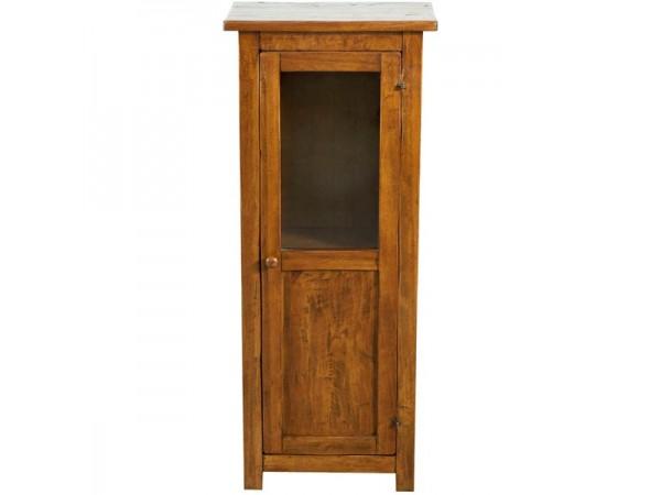 Βιτρίνα Μασίφ Ξύλινη σε απόχρωση καρυδιάς με 1 πόρτα και 1 ράφι 40x25x98 εκ.