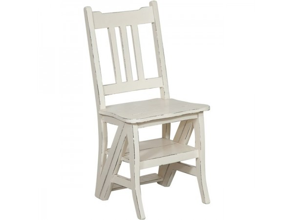 Καρέκλα Μασίφ Ξύλινη Μαόνι που γίνεται σκάλα  σε λευκό αντικέ χρωματισμό 44x38x90 εκ.