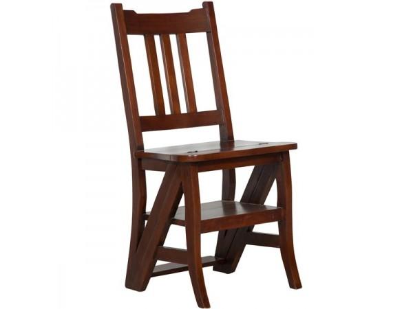 Καρέκλα Μασίφ Ξύλινη Μαόνι που γίνεται σκάλα σε καρυδιά χρωματισμό 44x38x90 εκ.