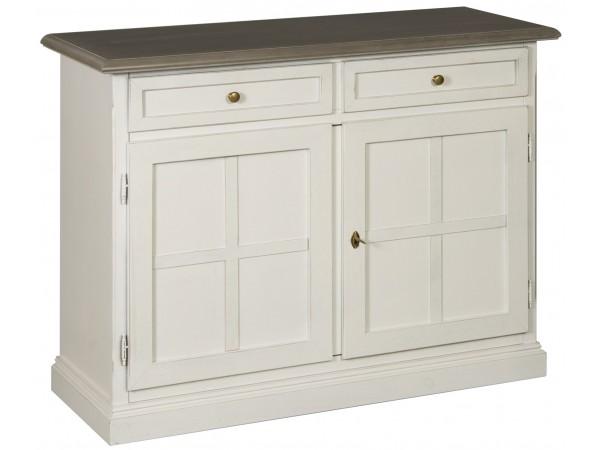 Μπουφές Ξύλινος σε λευκό αντκέ χρωματισμο με 2 πόρτες και 2 συρτάρια 108x42x84 εκ.