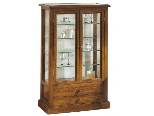 Βιτρίνα Ξύλινη Classical Collection με 2 πόρτες τζάμι και 2 συρτάρια 61x31x97 εκ.