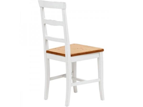 Καρέκλα Μασίφ Ξύλινη σε απόχρωση καρυδιάς το κάθισμα και λευκό αντικέ η υπόλοιπη δομή 45x43x92 εκ.