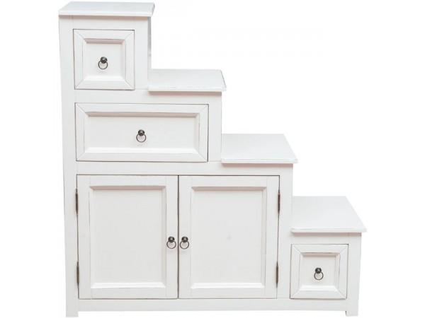 Συρταριέρα Σκάλα Μασίφ Ξύλινη αριστερή σε απόχρωση λευκό αντικέ με 3 συρτάρια και 2 πόρτες 94x41x97 εκ.