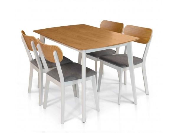 Σετ Τραπέζι Κουζίνας με 4 καρέκλες Ξύλινο σε rovere και άσπρο χρωματισμό