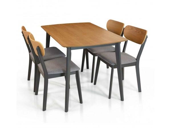 Σετ Τραπέζι Κουζίνας με 4 καρέκλες Ξύλινο σε rovere και γκρι χρωματισμό
