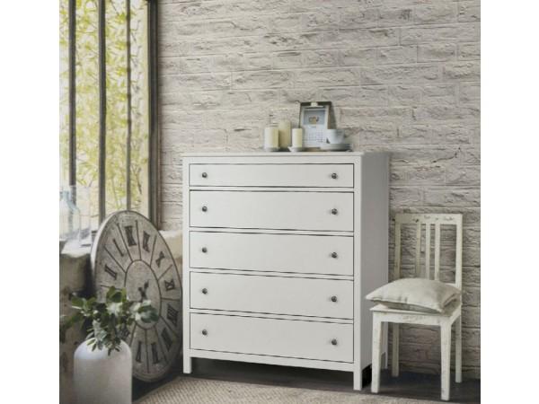 Συρταριέρα Country Collection με 5 συρτάρια από ξύλο σε λευκό ματ  χρωματισμό 114x51x135 εκ.