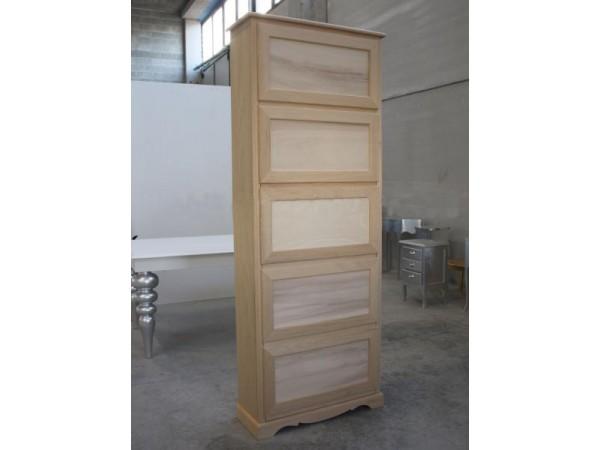 Παπουτσοθήκη Ξύλινη Άβαφη με 5 συρτάρια 79x30x210 εκ.