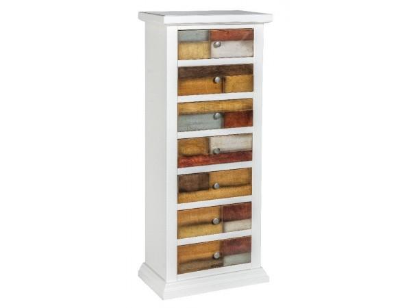 Συρταριέρα Ξύλινη με 7 συρτάρια Loft Bianco 53x31x126 εκ.