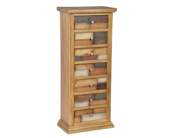 Συρταριέρα Ξύλινη με 7 συρτάρια Loft Natural 53x31x126 εκ.