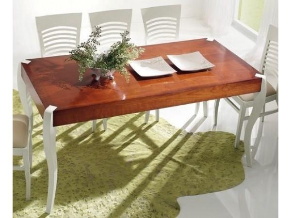 Τραπέζι Μασίφ Ξύλινο σε διχρωμία white και cherry σε τρεις διαστάσεις